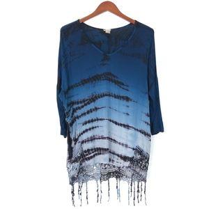Gimmicks BKE | Tie Dye Boho Tunic Blue Lace